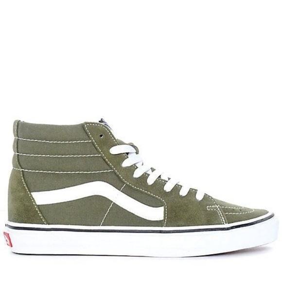66975c00071 Vans Sk8-Hi Winter Moss Green   White Skate Shoes
